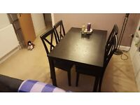 Dining Room black wooden table and 4 chairs