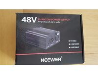 NEEWER 1-Channel 48V Phantom Power Supply. Adaptor, XLR Audio Cable for any Condenser Microphone