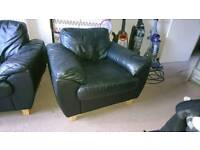 2 seater leather sofa and arm chair