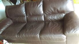 Brown 3 seater Faux Leather Sofa