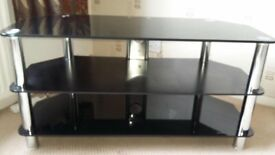 Black Glass TV/DVD table
