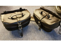 SADDLE BAGS - GOOD QUALITY LEATHER - QUICK RELEASE -SUITABLE FOR CRUISER TYPE BIKE - 95.00