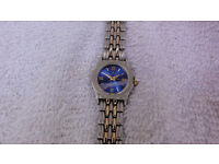Ladies Rolex Quartz Watch with Blue Face Two Tone Gold Silver Strap Works Perfectly New Battery