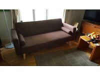 Chocolate Brown Linen Fabric Retro Style Sofabed, Click Clack Mechanism