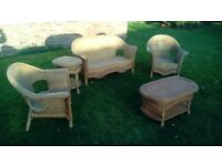 Cane Sofa and Chair set with 2 Tables