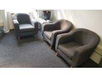 x2 Beautiful Grey Armchairs