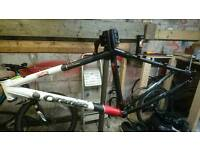 Orange mountain bike frame