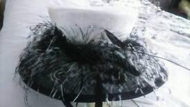 Black white wedding hat ostrich feathers