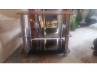 THREE TIER BLACK GLASS TV STAND WITH OAK TOP