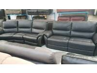 Real leather black 4 seater carved + 3 + 1 seater sofa