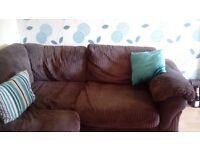 Lullaby left hand fabric corner sofa, from non smoking house clean no marks very comfortable