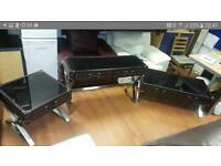 Beautiful heavy glass top leather occasional tables with heavy chrome feet £199!