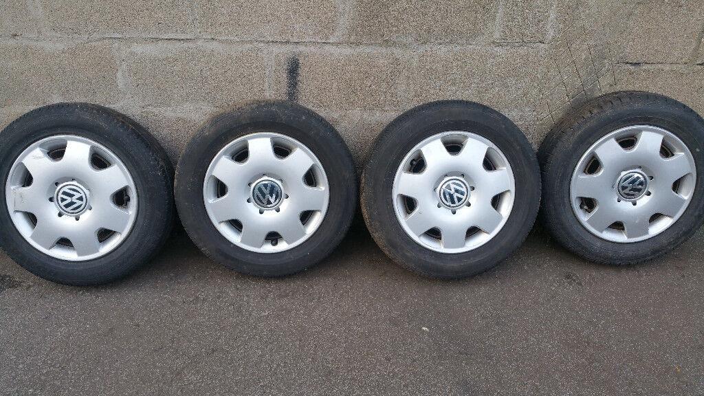 VW Polo 4 x steel wheels + 4 x tyres 165 70 14 PCD 5 x 112