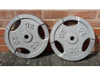 20KG CAST IRON TRI GRIP WEIGHT PLATES 1 Inch holes