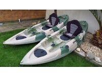 Single Sea Kayak With Seat, Paddles and Rod Holder - Can Also Be Bought As Pair