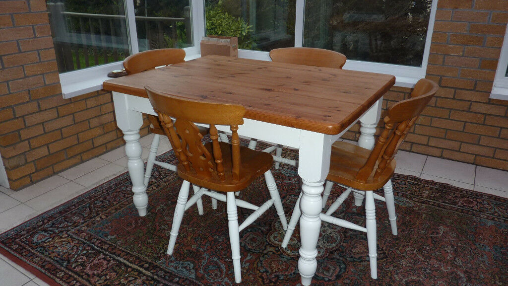 Solid Antique Pine Kitchen/Dining table & 4 chairs - Solid Antique Pine Kitchen/Dining Table & 4 Chairs In Westward Ho