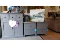 New. Pair of Small bedside drawers in grey