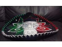 Genuine Mexican Mariachi Charro Sombrero Hat Flag Black Red Green Party Costume