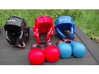 Karate head protectors and gloves children's sizes Cwmgwrach