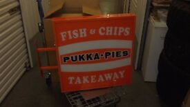 CATERING RESTAURANT SHOP TAKEAWAY STREET SIGNS EQUIPMENT CHIP SHOP LABEL RETRO SUPPLIES PIES