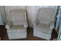 Armchairs (matching pair that includes one manual recliner)