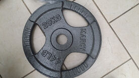 "2 x 20KG Marcy 2"" Olympic Trigrip Weight training Plates Discs gym weights heavy duty cast iron"