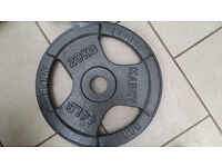 """2 x 20KG Marcy 2"""" Olympic Trigrip Weight training Plates Discs gym weights heavy duty cast iron"""