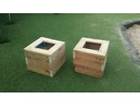 Pair of small garden planters / plant pots - upcycled pallets
