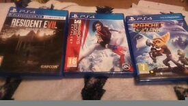 3 ps4 games resident evil, mirror edge, ratchet n clank
