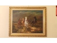 H RIEDMANN - WILD HORSES, ACRYLIC ON CANVAS, SIGNED LOWER RIGHT