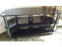 Lovely black glass and chrome tv stand