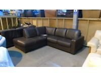 PRE OWNED Brown Leather Corner Sofa