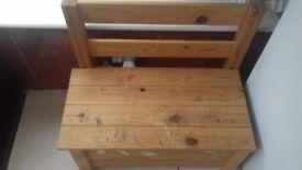 Pine storage bench