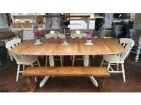 Pine extending table, chairs and bench