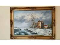 Winter scene oil painting