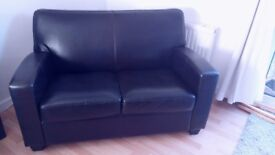 2 Seater Leather Hand-built SOFA dark brown / chocolate, comfy & sturdy