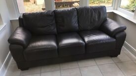 3 SEATER LEATHER CHOCOLATE BROWN SOFA