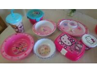 Girls Frozen Disney Minnie Hello Kitty plates bowl cups container lunch box