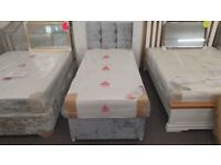 New Divan Single Bed Grey Crushed Velvet & Ortho Comfort Mattress & Headboard Can Deliver