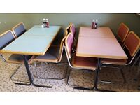 2 sets of matching cafe tables and chairs. 4-seaters. Good condition, no rips on chairs.