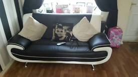 Black and white leather Sofa