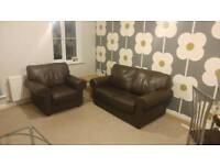 Like New Brown Leather 2 seater sofa & armchair