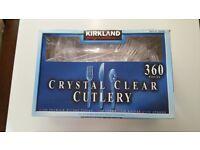 Kirkland 360 Crystal Clear Plastic Cutlery - 120 each of Knife/Fork/Spoon