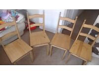 set of 4 pine chairs as new