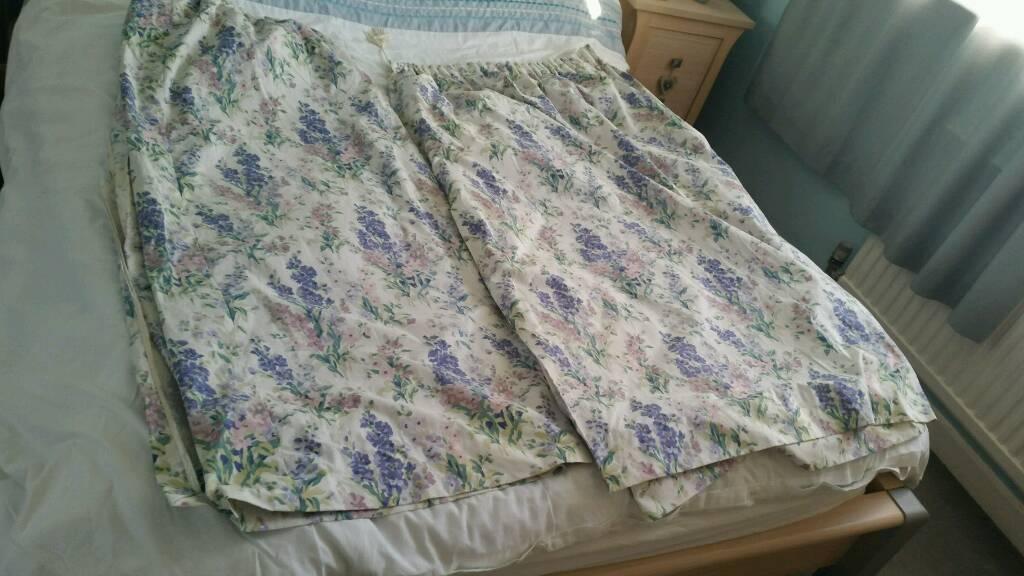 "Laura Ashley blue & purple stocks flower curtains 55""x90"""