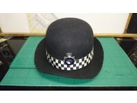 Vintage Metropolitian Police WPC Hard Bowler Hat by C.W. Headware with Ribbon & Enamel Badge