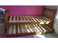 Wooden Single bed frame with truckle bed