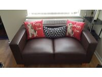 Brown 2 seater leater sofa