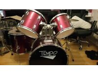 Pearl and Tempo drum kit black and red (Price for both)