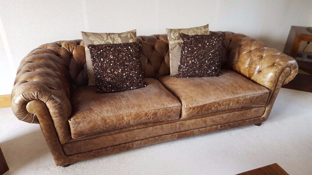 Good Quality Vintage Look Coach House Antiques Distressed Leather 3 Seater Chesterfield Sofa